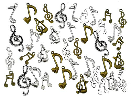 Kinteshun Music Notes Charm,Alloy Multistyle Musical Notation Symbol Charm Pendant Connector for DIY Jewelry Making Accessaries(100 Grams,About 80pcs) ()