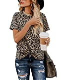 Women's Casual Blouses Summer Short Sleeve Tee Leopard Print Roundneck T-Shirt Tops