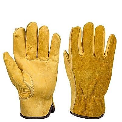 Cowhide Rigger Gardening Gloves Thorn Proof Cowhide Work Gloves Waterproof Slim-Fit Reinforced Gloves Gauntlet For Men And Women HCT27