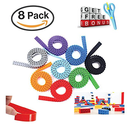 Lego tape & Block tape & Self Adhesive - Strips for Kids toy - 100 % Cuttable Reusable & Best fit with Major Brands Building Brick- Lego Tape RolI Including With best Bonus Scissor 8 Best block tape