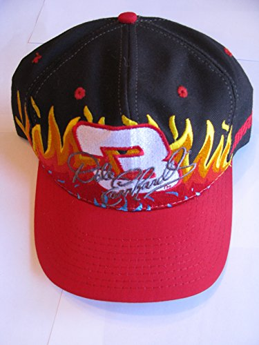 Dale Earnhardt Sr #3 Black With Red, Orange, Yellow Flames Swirl Accents Hat Cap One Size Fits Most OSFM Chase Authentics With Plastic Snapback ()