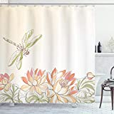 Ambesonne Dragonfly Shower Curtain, Lotus Flower Field with Dragonfly Flying Oriental Blooms Print, Cloth Fabric Bathroom Decor Set with Hooks, 75' Long, Cream Peach
