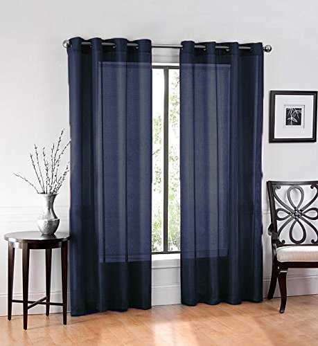 2 Pack: GoodGram Ultra Luxurious High Woven Elegant Sheer Grommet Curtain Panels - Assorted Colors (Navy) (Blue Curtains Navy)