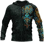 Men's Odin & Fenrir Wolf Viking Amulet Hoodie, 3D Tattoo Print Pullover Long Sleeve Quick Dry Sw