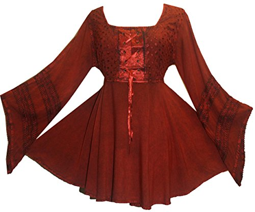 1095b4c316 Agan Traders 11 B Women s Boho Gypsy Medieval Sexy Corset Top Blouse Tunic  at Amazon Women s Clothing store