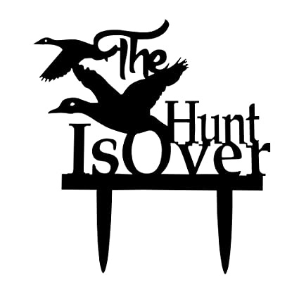 Amazon Com The Hunt Is Over Wedding Acrylic Cake Topper For