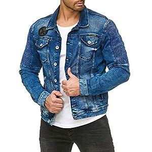 Veste en Denim pour Hommes Style Motard, Jeans Blue Denim Veste Transition Bleu