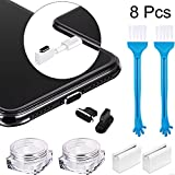 2 Sets Anti Dust Plugs, Include 2 Black Dust Plugs Compatible with iPhone 5/6/ 7/8/ X/XS, 2 Phone Cleaning Brushes, 2 Plug Holders and 2 Storage Boxes (8 Pieces in Total)