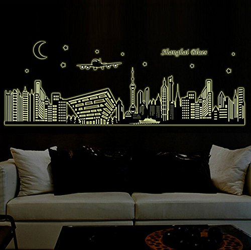 Glow in the Dark Wall Stickers - Living Home Decor or Kids Rooms - Mural Decal (1) Paint Mural Kids Room
