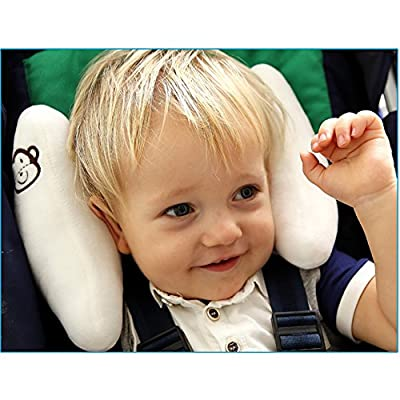 Inchant Adjustable Baby Soft Head Neck Support - Children Travel Car Seat Safety Pillow Cushion, Banana U-shape Stroller Head Support for Toddlers Infants Child Best Gift - White