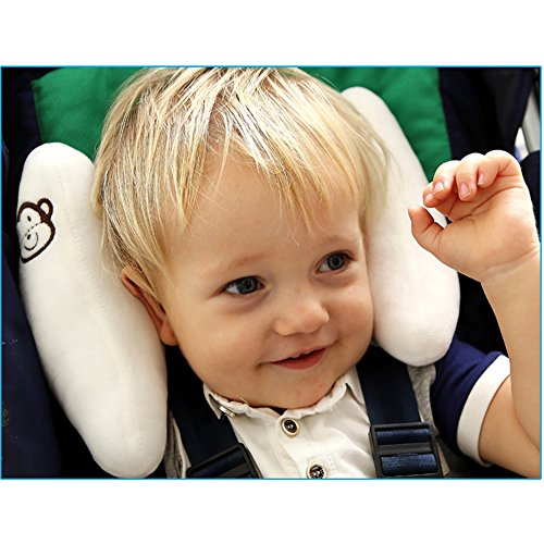 Inchant Adjustable Baby Soft Head Neck Support - Children Travel Car Seat Safety Pillow Cushion, Banana U-shape Stroller Head Support for Toddlers Infants Child Best Gift - White ()