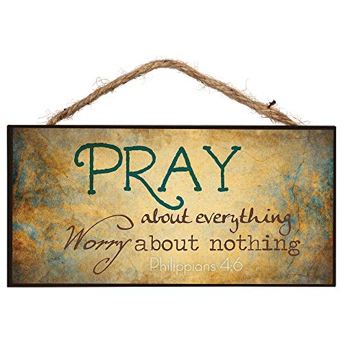 Bible Verse About Christmas (P. Graham Dunn Pray About Everything Worry About Nothing Wooden Sign with Jute Rope)