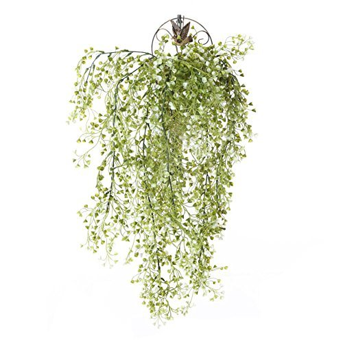 (Meiliy 31.5'' Artificial Fake Hanging Vine String Plant for Home Garden Wall Decoration Hanging Plants, White)