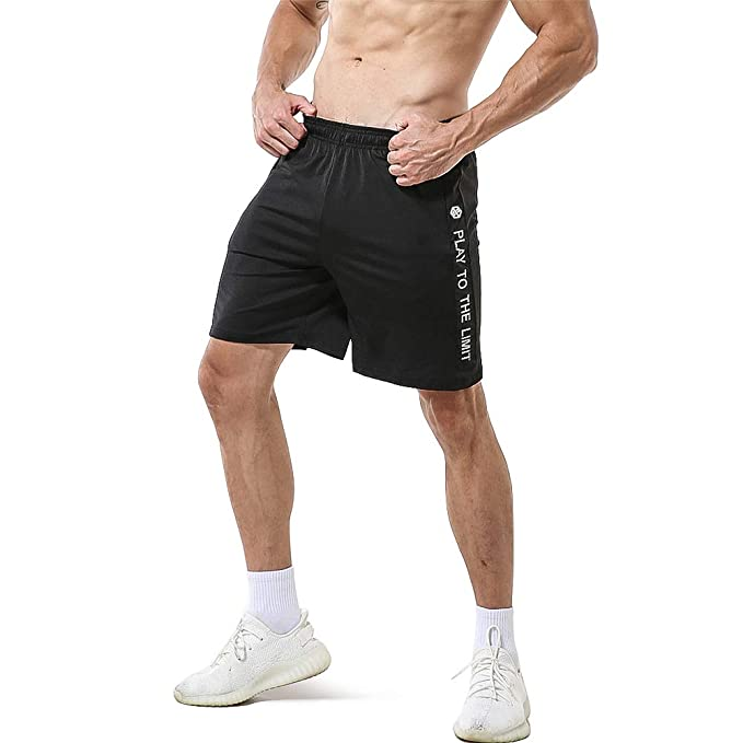 703c1f97d1 Gerlobal Men's Workout Shorts Running Bodybuilding Gym Active Training  Shorts with Zipper Pockets Small,Black