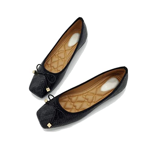 693235fa09024 Amazon.com: August Jim Women Flats Shoes,Ladieds Square Toe Slip-on ...