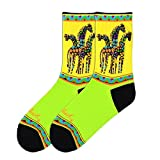 K. Bell Brand Rainbow Giraffes Sock, Size: 9-11 comes with a Helicase Brand Sock Ring