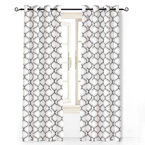 """DriftAway Geometric Trellis Room Darkening/Thermal Insulated Grommet Unlined Window Curtains, Set of Two Panels, Each 52""""x84"""" (Gray)"""