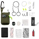 PhoenixSong 29 Accessories Survival Pod Kit wrapped in 550 lb Paracord Survival Grenade Cord for Emergencies