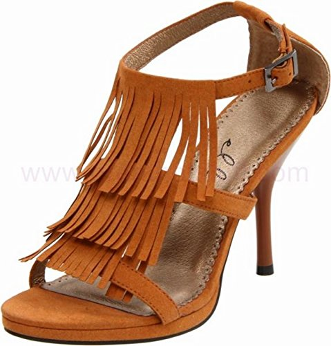 Ellie 4 Inch Sandal Women'S Size Shoe With Fringe (Brown;6)