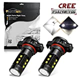 Partsam 1 Pair Cree PSX24W 2504 12276 75w White 6000K Fog Light Driving Lamp With High Power Cree LED w/in-bulit IC Control and Black Auminum Alloy