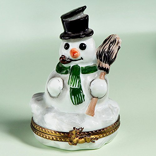 Authentic French Hand Painted Limoges Porcelain Snowman with Broom Box