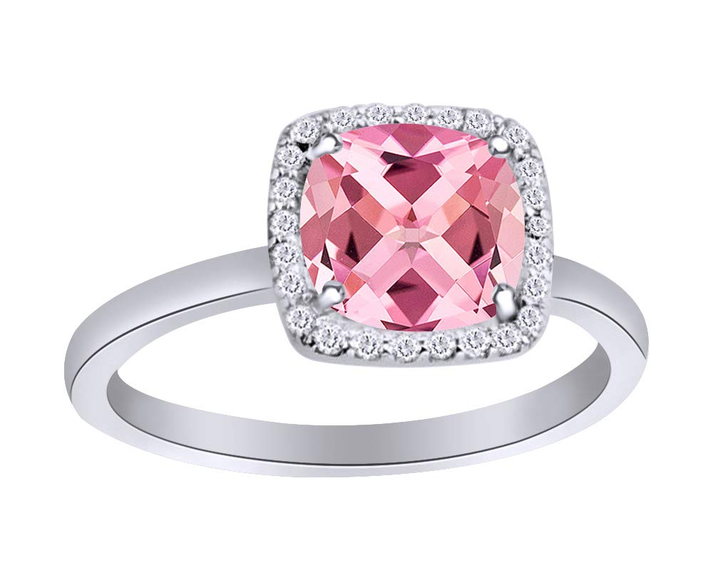 Cushion Cut Simulated Garnet with CZ Halo Engagement Ring in 14K ...