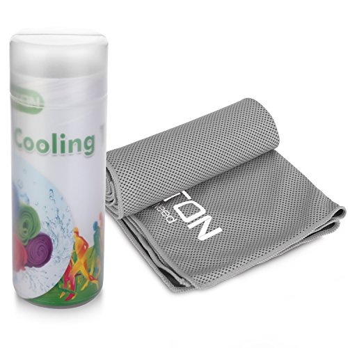 OMOTON High-tech Cooling Towel for Instant Relief-Soft Breathable Mesh Yoga Towel-Keep Cool for Running Biking Hiking and all Other Sports, Grey