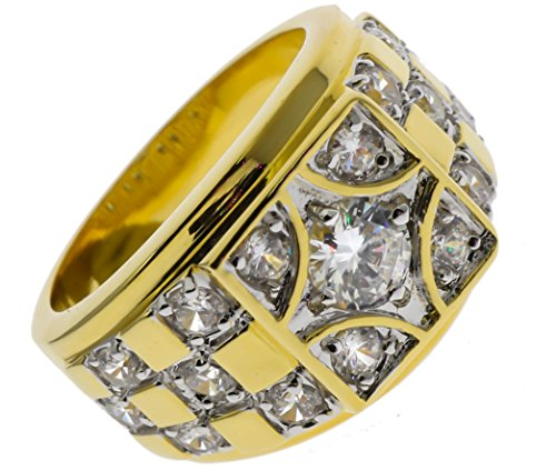 Sujak Jewelry Classy Checkerboard Men's Ring Russian czs 14K Gold Overlay Size 10 ()