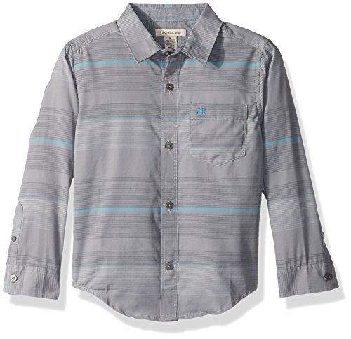Calvin Klein Big Boys' End Bold Horizontal Stripe Long Sleeve Shirt, Medium Grey, Small (8) Bold Stripe Cotton Shirt