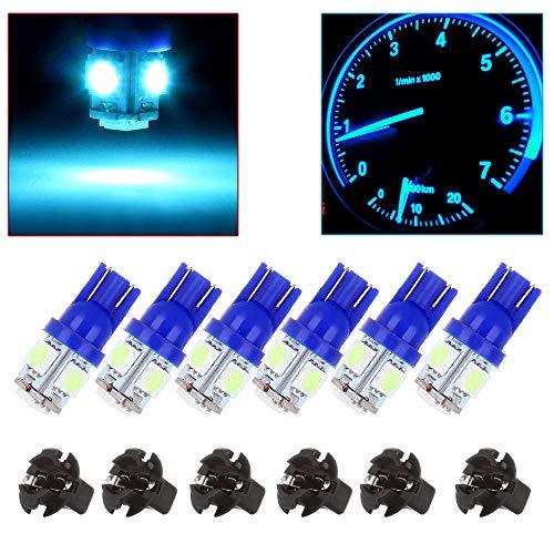 cciyu T10 LED Light Bulbs Wedge 194 168 Instrument Panel Dash Light Bulb W/Twist Socket,6Pack Blue ()