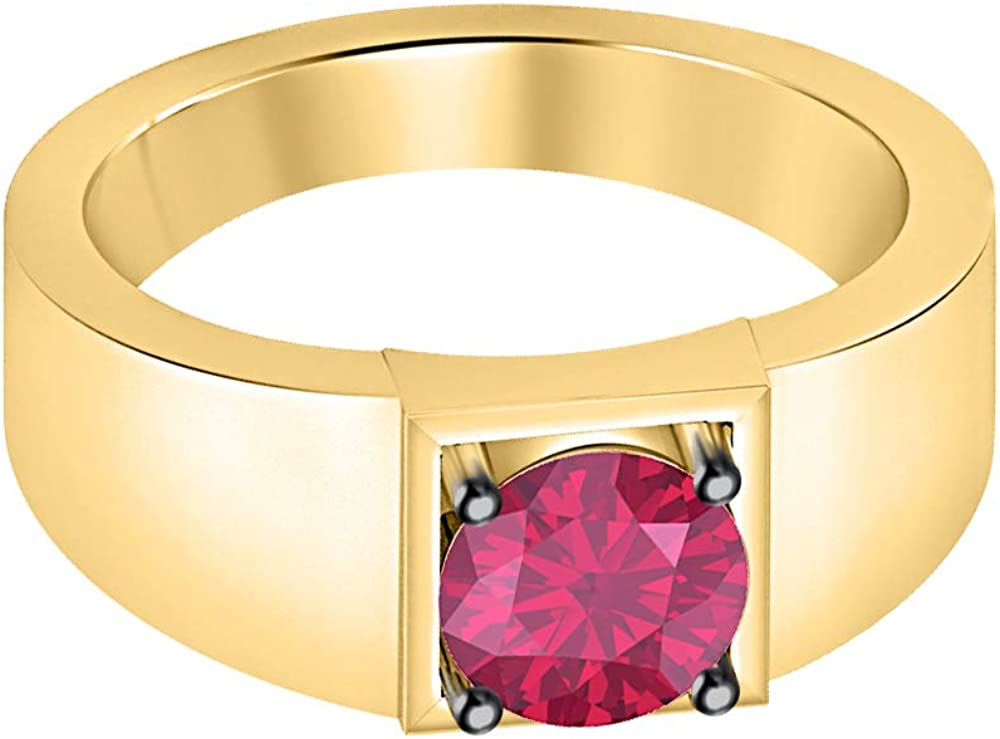 RUDRAFASHION Solitaire 14K Yellow Gold Over Sterling Silver Round Shaped Pink Ruby Mens Wedding Band Engagement Ring