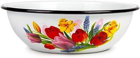 Amazon Com Spring Bouquet Enamelware Round Serving Soup Salad Bowl Classic Tableware Enamel Basin 1 6 Qt 1 5 L Salad Bowls
