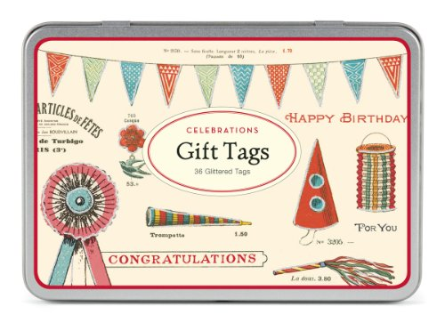 Cavallini Papers 36 Assorted Celebrations Glitter Gift Tags by Cavallini Papers & Co., Inc.