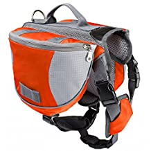 SODIAL(R) Pet Backpack Dog Saddlebags Medium and Large Dogs Harness Bag Ideal for Outdoor Hiking Camping Training-L orange