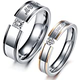 Smile Jewelry LGBT His And Hers Promise Ring Sets Stainless Steel Wedding With CZ Diamond Men's Jewelery Wed Rings And Men 11.0