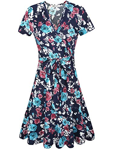 - Aphratti Women's Short Sleeve V Neck Faux Wrap Fit and Flare Dress Work Casual Navy Print Medium