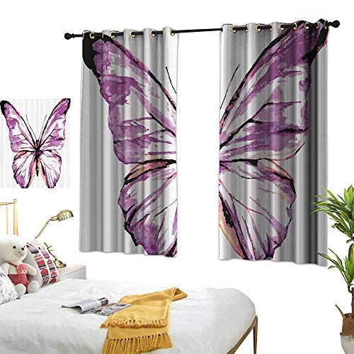 Warm Family Eclipse Curtains Animal,Artistic Butterfly Design in Watercolors Wings Moth Vintage Illustration,Violet Salmon Black 54