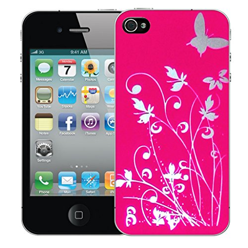 Mobile Case Mate iPhone 4s Silicone Coque couverture case cover Pare-chocs + STYLET - Pink Meadow pattern (SILICON)