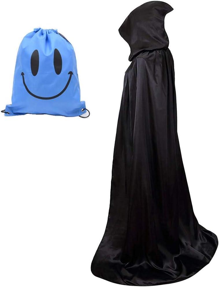 Largo Capa con Capucha, Unisex Adulto Disfraz de Halloween Fiesta Disfraces Vampiro Traje (M, Negro)