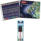 Derwent Drawing Pencils, Inktense, 4mm Core, Metal Tin, Watercolor, 24 Per Pack (0700929) + Waterbrush pack