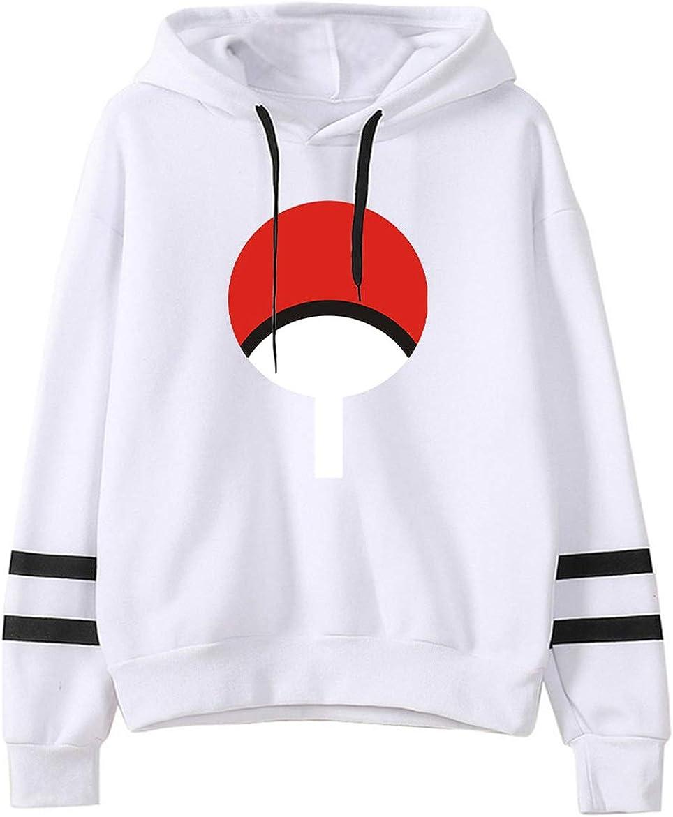 HUASON Herren Naruto Hoodie Japanischer Anime Kapuzenpullover Uchiha Unisex Langarm Sweat-Shirt