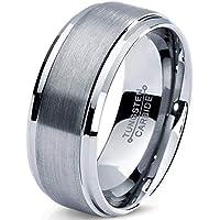 Tungsten Wedding Band Ring 8mm 6mm for Men Women Comfort Fit Beveled Edge Cut Polished Custom Laser Engraving