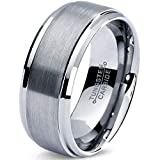 Tungsten Wedding Band Ring 8mm 6mm for Men Women Comfort Fit Beveled Edge Cut Polished FREE Custom Laser Engraving