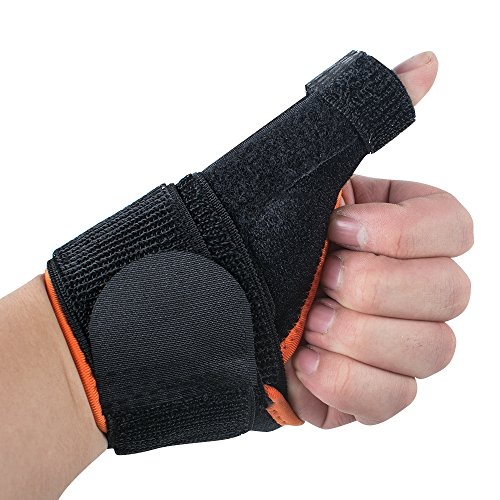 Vinmax Arthritis Thumb Splint, Thumb Spica Support Brace for Pain, Sprains, Strains, Arthritis, Carpal Tunnel & Trigger Thumb Immobilizer - Wrist Strap -One Pair For Left And Right Hand (Black-Orange)