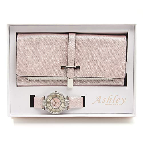 - Women's Essentials - Matching Womens's Watch & Colorful 2 Layer Design Wallet Gift Set - ST10234 Pearly Pink