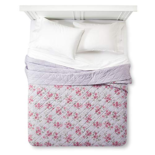 (Simply Shabby Chic Purple Berry Rose Linen Blend Quilt (Twin))