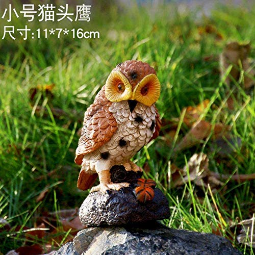 ACAMPTAR Garden Sculpture Outdoor 32 Cm Owl With Sense Sound Sculpture Garden Furnishings Animal Resin Statue Crafts…
