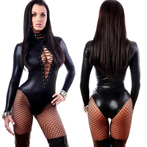 Anshinto Super Sexy Adult Black PVC Leather Like Tight Coverall Bodysuits (XL, Black)