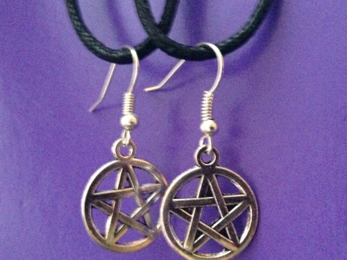 Moon Pentacle Stone (Pentagram Pentacle Earrings. Charm Jewelry Set Silver Tone Wiccan Wicca, Pagan Metaphysical Religious Amulet Women's Jewelry)