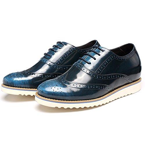 CHAMARIPA Zapatos Estilo Brogues Hombre para ser 7 cm más alto,Marrón y Azul - L62227K061D Azul
